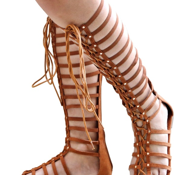 fe04fd258c0a5 Posh Chica Shoes | Nib Tan Knee High Lace Up Gladiator Sandals ...